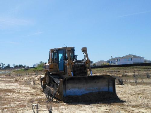 Tractor destroying burrowing owl habitat